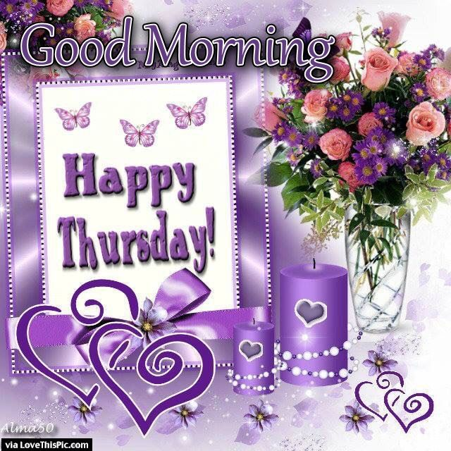 Good Morning Happy Thursday Flowers And Candle Pictures Photos And