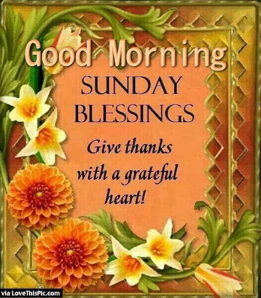 Thanksgiving Greetings Sayings >> Good Morning Sunday Blessings Give Thanks Pictures, Photos, and Images for Facebook, Tumblr ...