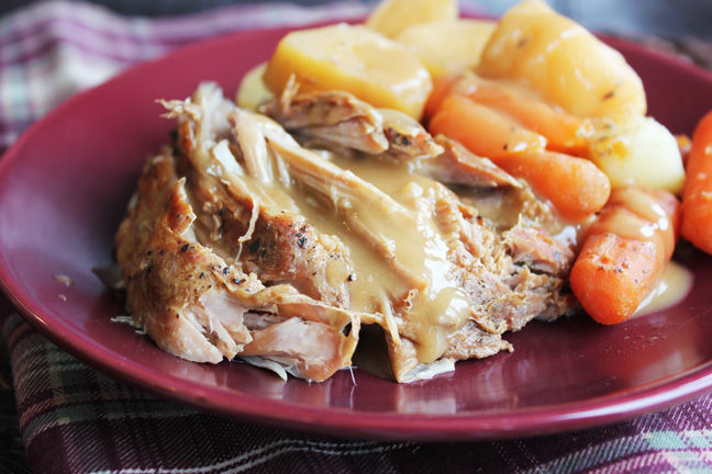 crock pot pork roast with vegetables and gravy pictures photos and images for