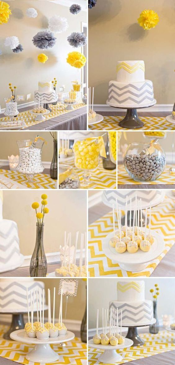 gray and yellow chevron themed baby shower pictures photos and