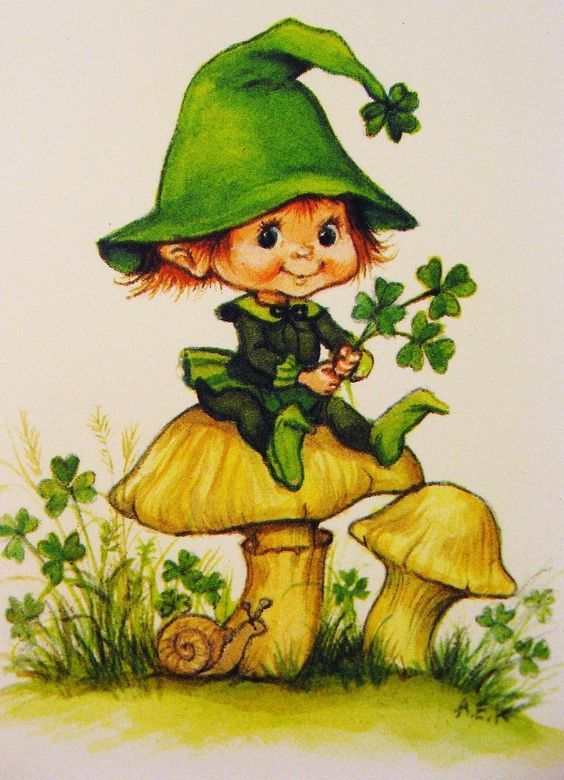Vintage Irish Leprechaun Card Pictures, Photos, and Images