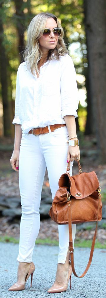 White Shirt With White Jeans And Satchel Pictures, Photos, and ...