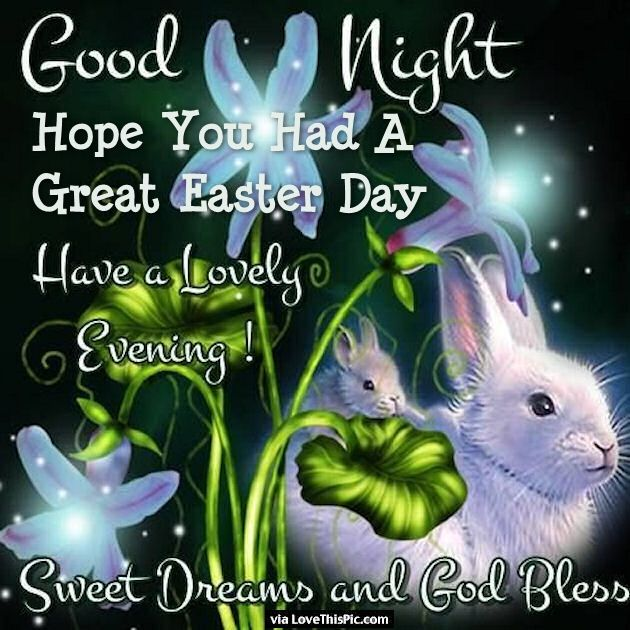 goodnight hope you had a great easter