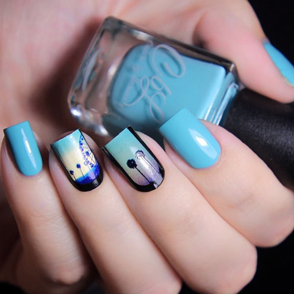 Blue And Silhouette Themed Spring Nail Art Design Pictures