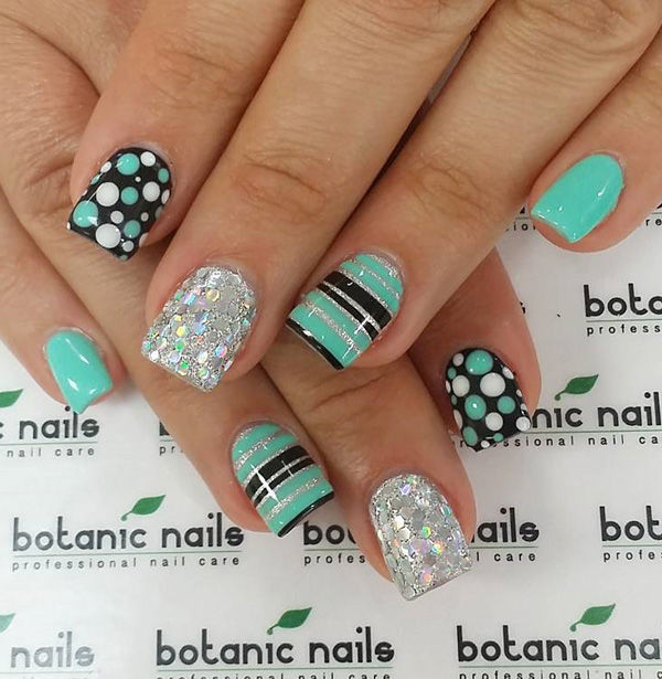 Sea Green And Black Themed Glitter Nails