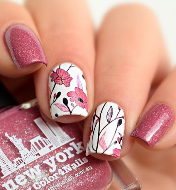 Floral Nail Art: Detailed Pretty Pink Floral Nails Pictures, Photos, And