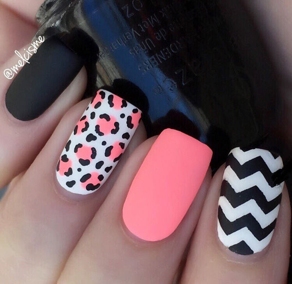 Pink Black And White Spring Nail Art Design
