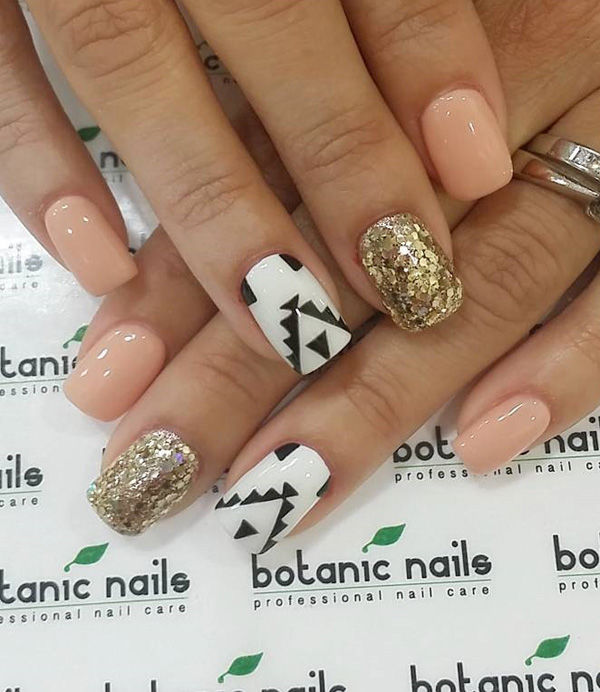 Stunning Nude Gold Black And White Spring Nail Art Pictures