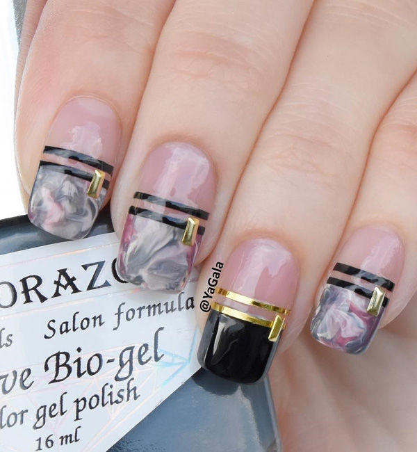 Marble Inspired Gray And Pink Nails