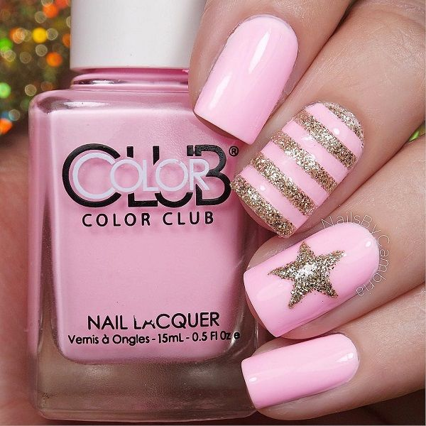 Baby Pink And Gold Glitter Polish Spring Nail Art Pictures