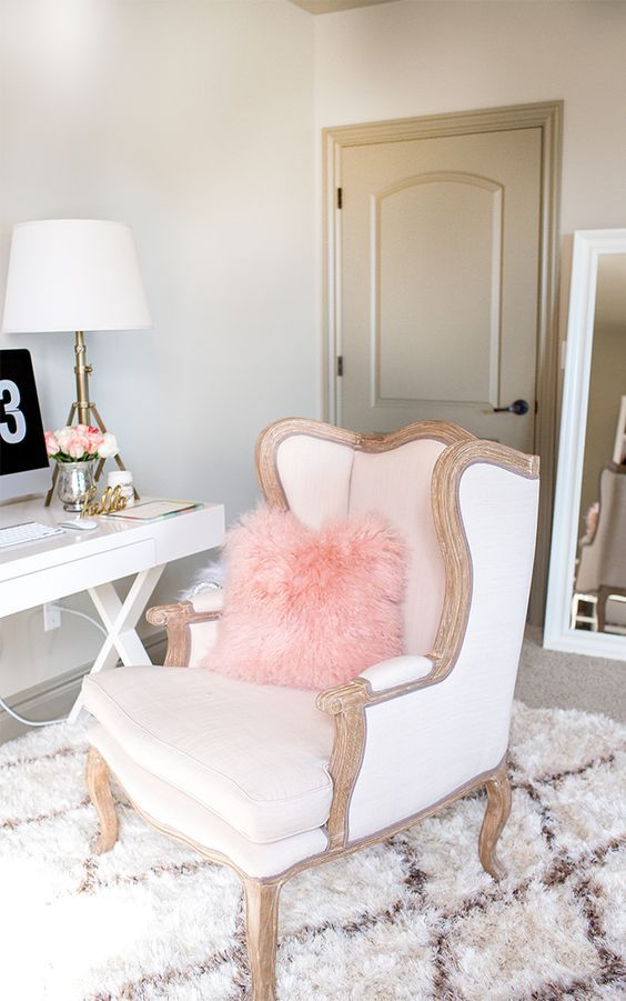 Chic Chair And Furry Pillow