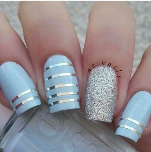 Blue Silver Striped Nails Pictures Photos And Images For Facebook Tumblr Pinterest And Twitter