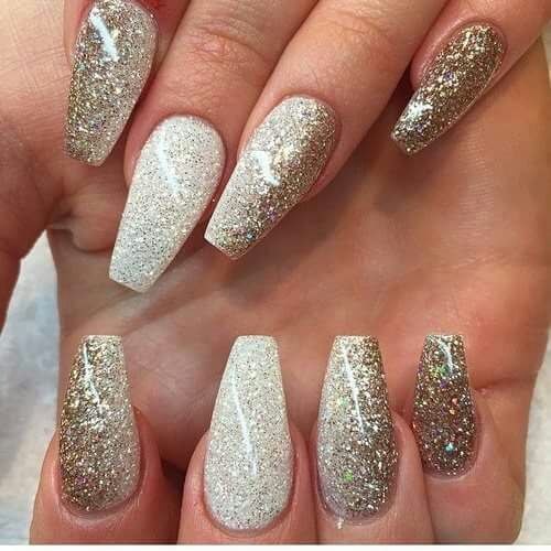 Glitter Golden Nail Art