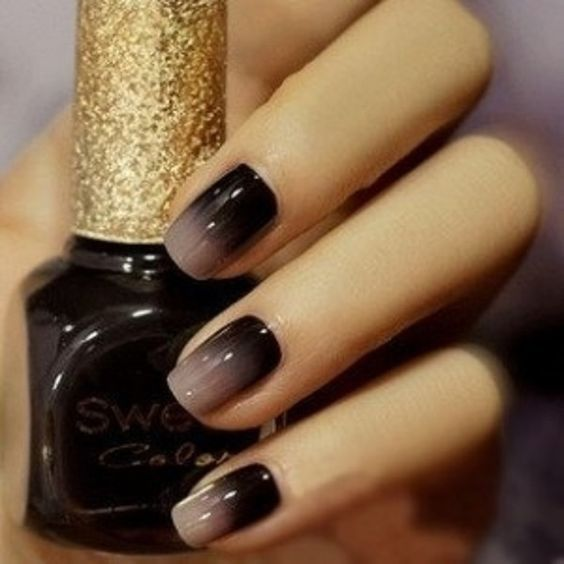 Two Tone Nail Polish Fade: Black Gradient Nails Pictures, Photos, And Images For