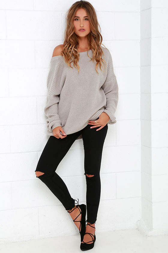 2f37e96a1704 Shoulder Down Sweater With Ripped Black Jeans Pictures