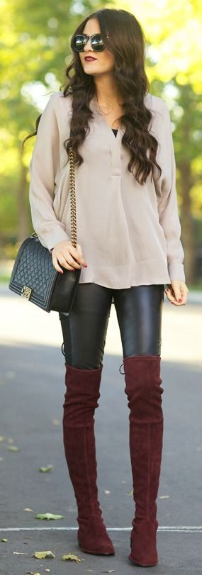 Brown Over-the-Knee Boots With Leather Pants Pictures, Photos, and ...