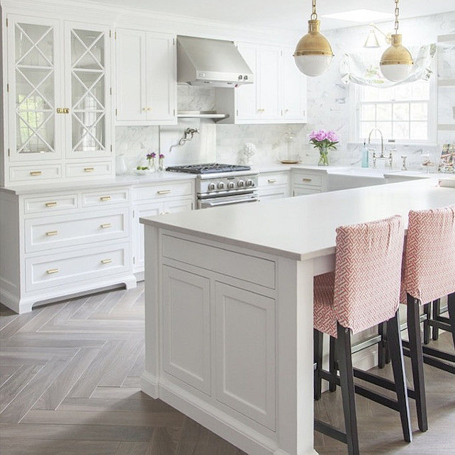 White Kitchen: White Kitchen With Bleached Hardwood Flooring In