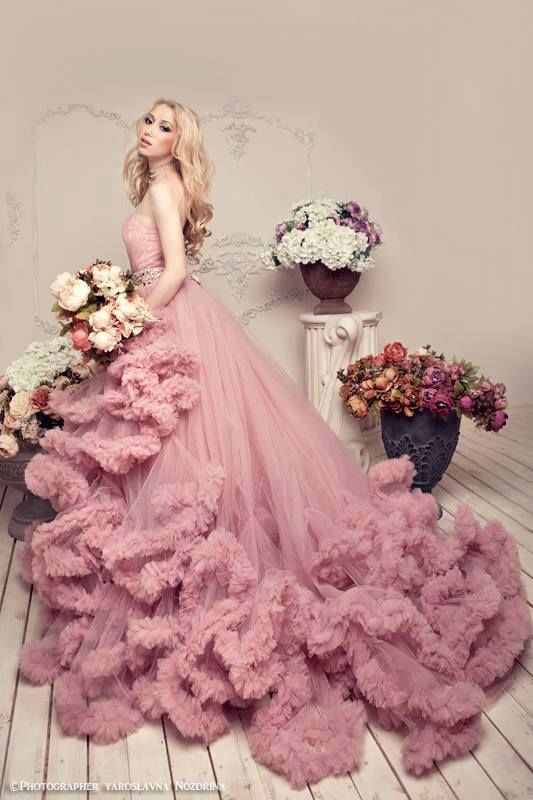 Gorgeous Pink Ruffled Gown Pictures Photos And Images