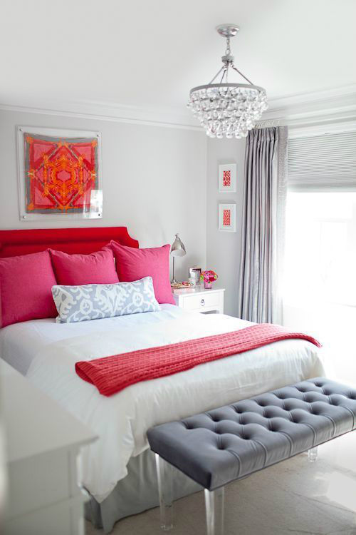 Romantic Red, Pink And Gray Bedroom Color Scheme Pictures ...