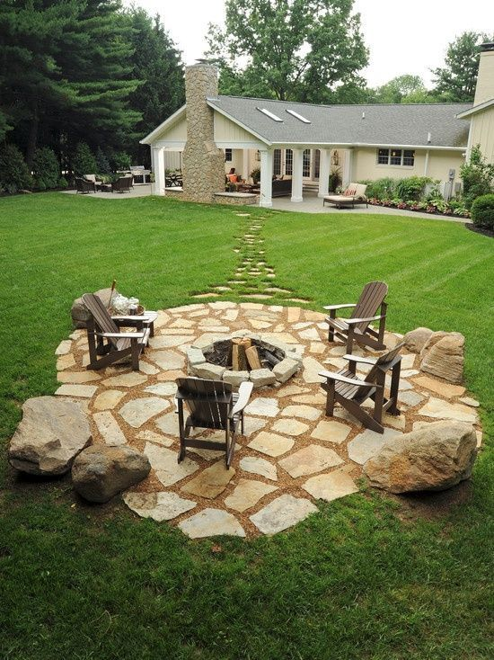 Rustic patio with pathway fire pit exterior stone floors for Gravel fire pit area