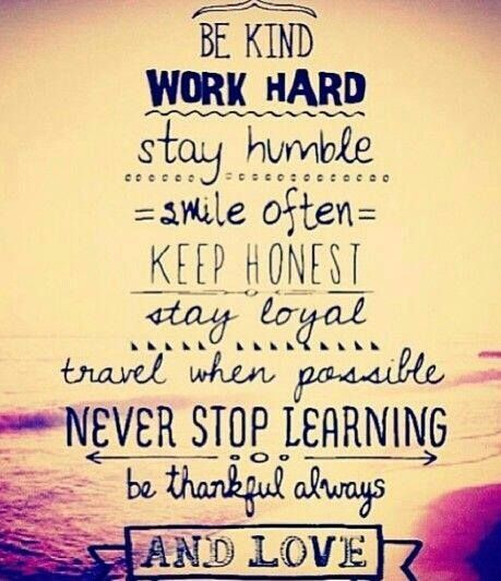 Life Inspirational Quotes: Be Kind, Work Hard, Never Stop Learning And Love Pictures