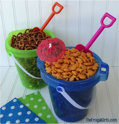 Outdoor Summer Birthday Party Ideas: Beach Buckets To Serve Snacks Pictures, Photos, And Images