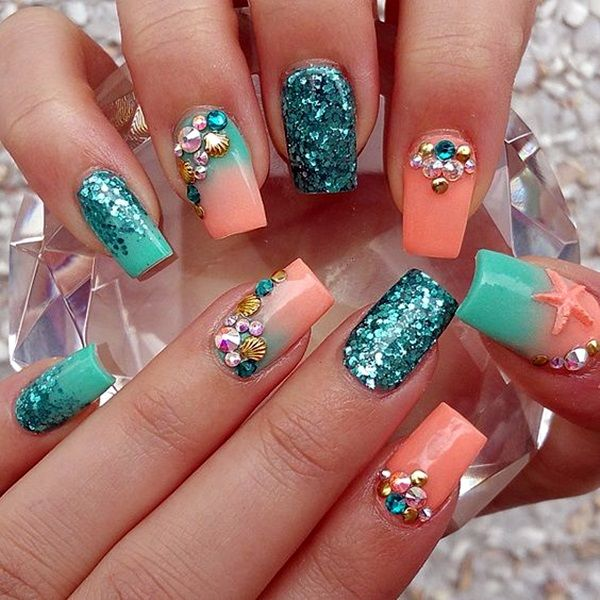 Teal And Coral Nails Pictures Photos And Images For Facebook