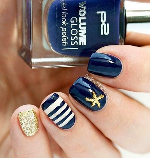 Navy And Gold Glitter Nails Pictures, Photos, and Images for ...
