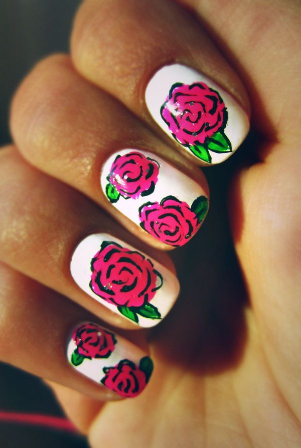 White And Pink Rose Nails Pictures Photos And Images For Facebook Tumblr Pinterest And Twitter