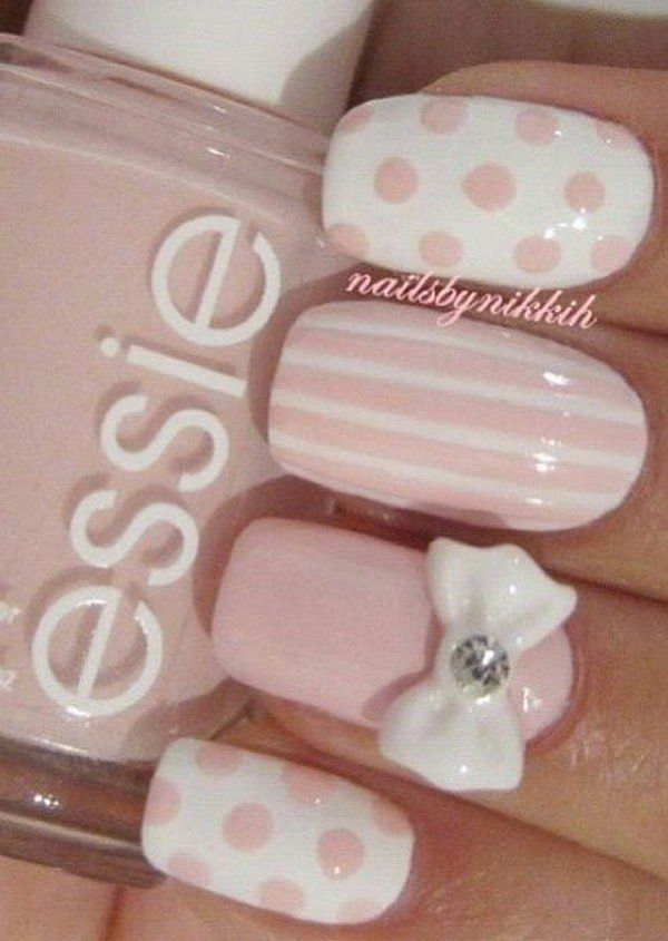 Pale Pink Nail Designs With Stripes Polka Dots And Bows Pictures