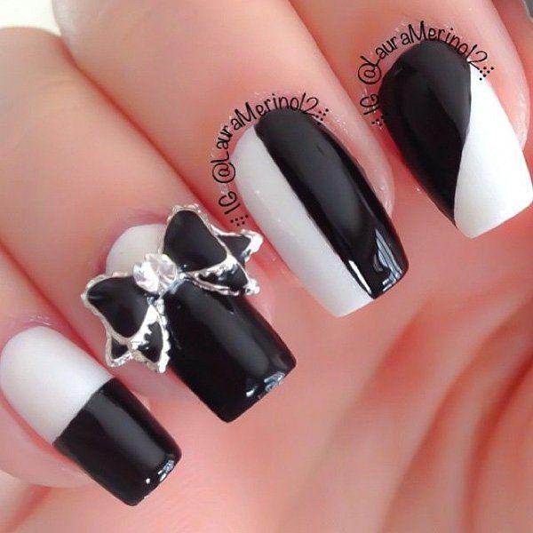 Black And White Bow Nail Art Pictures Photos And Images For