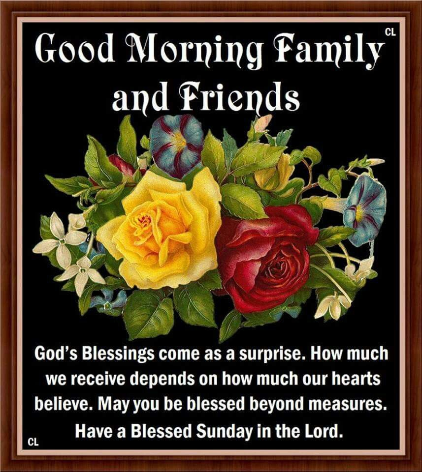 Morning Blessing Quote: Good Morning Family And Friends, Have A Blessed Sunday In