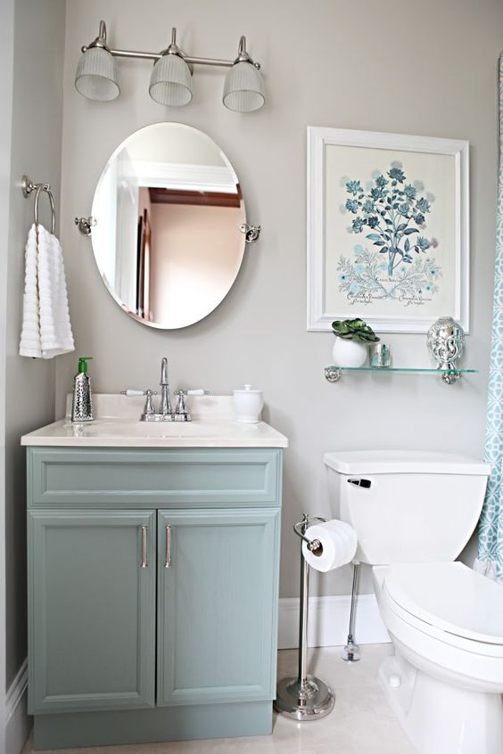 Light Blue Vanity Light Gray Walls Pictures Photos And
