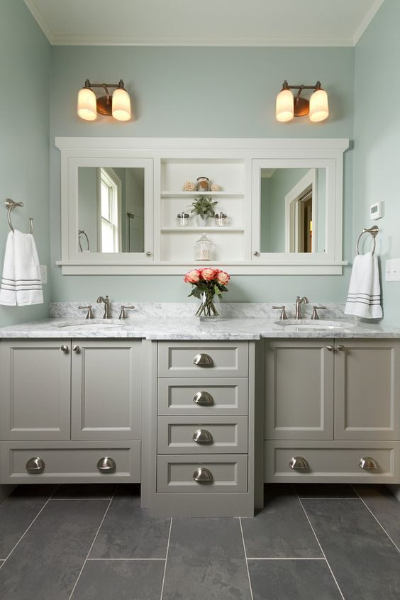 Master Bathroom With Double Vanity Marble Countertop