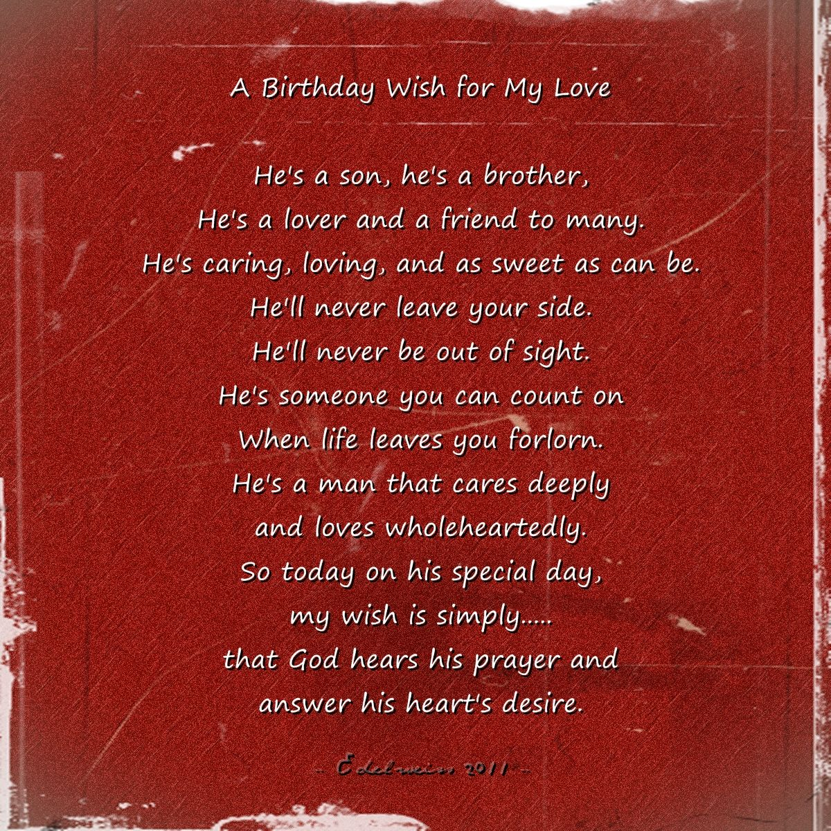 Happy Birthday Poems For Him Cute Poetry For Boyfriend Or: A Birthday Wish For My Love Pictures, Photos, And Images