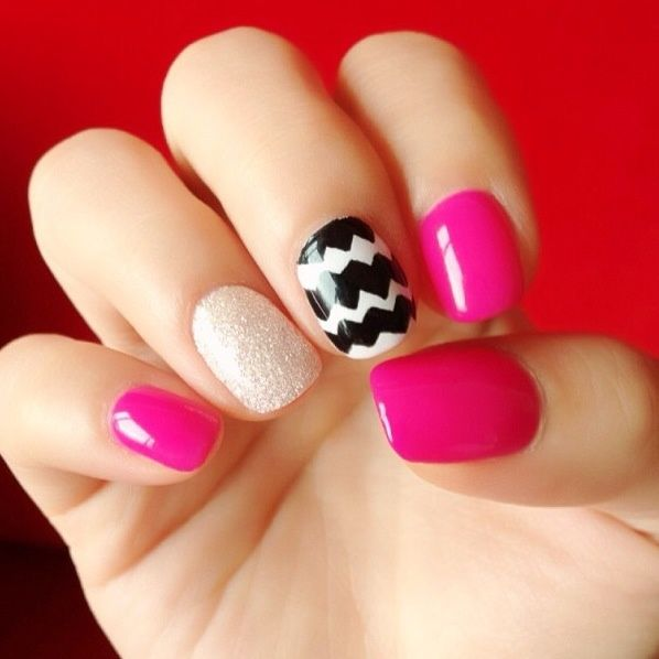 Pink Glitter Chevron Nails Pictures, Photos, and Images ...