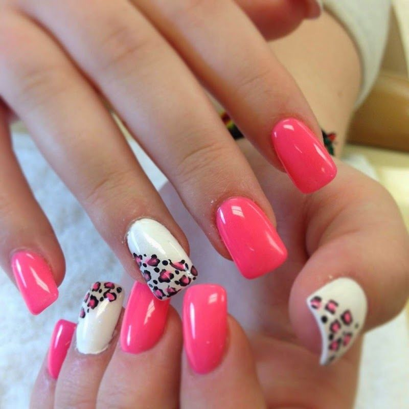 Pink And White Acrylic Leopard Nails