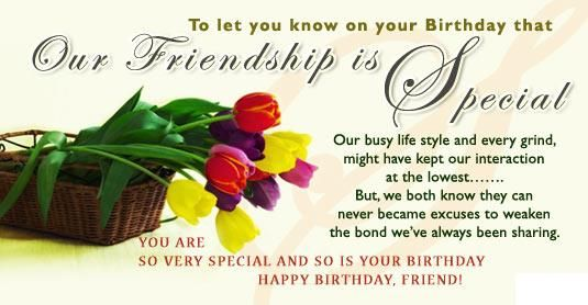 Our Friendship Is Special Happy Birthday Friend