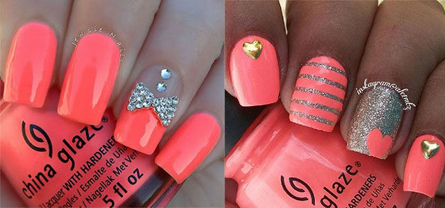 Coral Glitter Nail Design Pictures Photos And Images For Facebook Tumblr Pinterest And Twitter