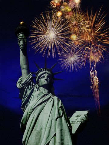 Lady Liberty With Fireworks Pictures Photos And Images