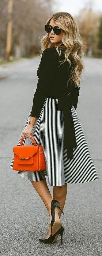 Kamali Kulture Dolman Wrap Top, Striped A-Line Midi Skirt, Red ...