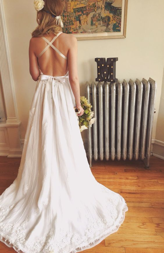 Backless bohemian wedding dress pictures photos and for Backless boho wedding dress