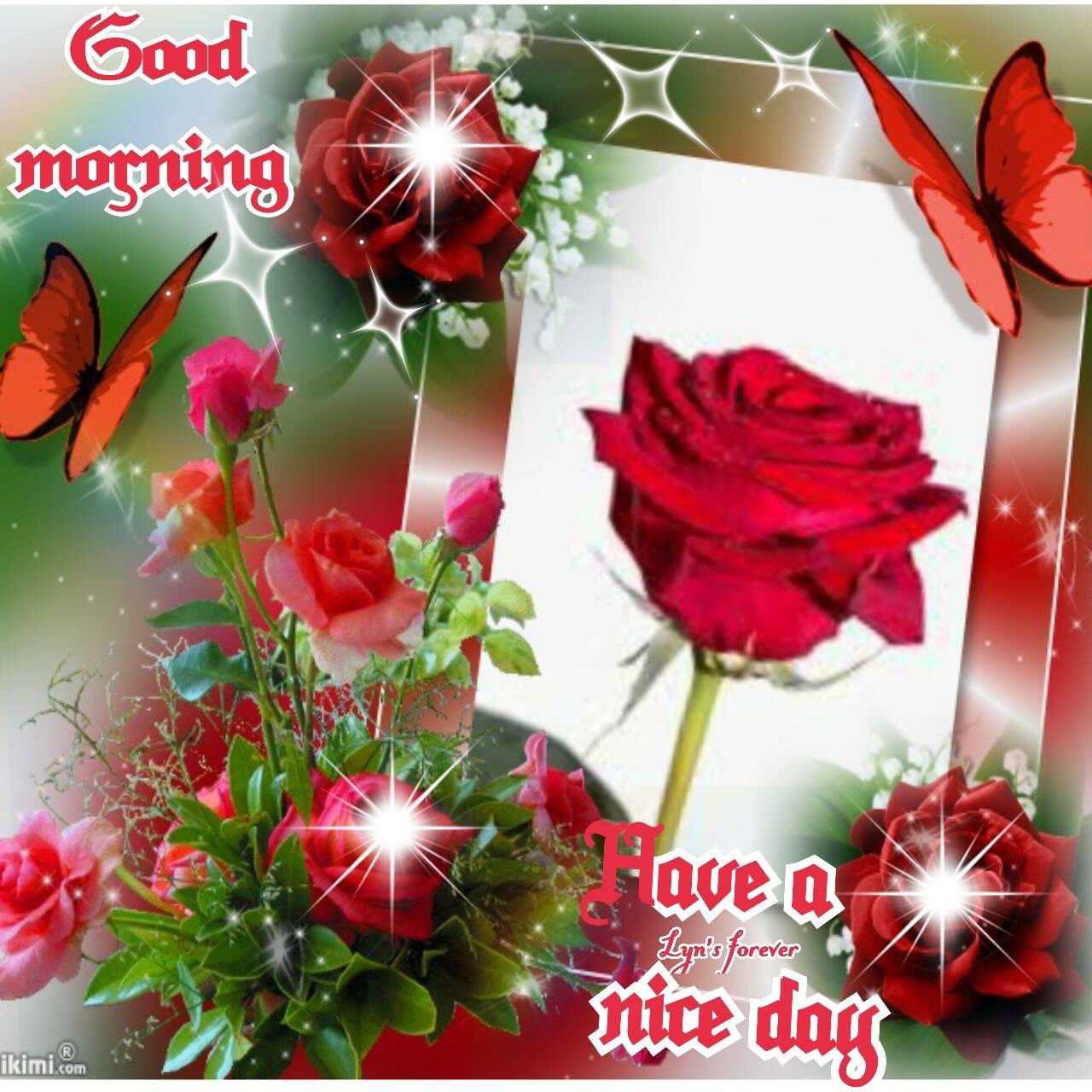 good morning have a nice day roses and butterflies pictures photos