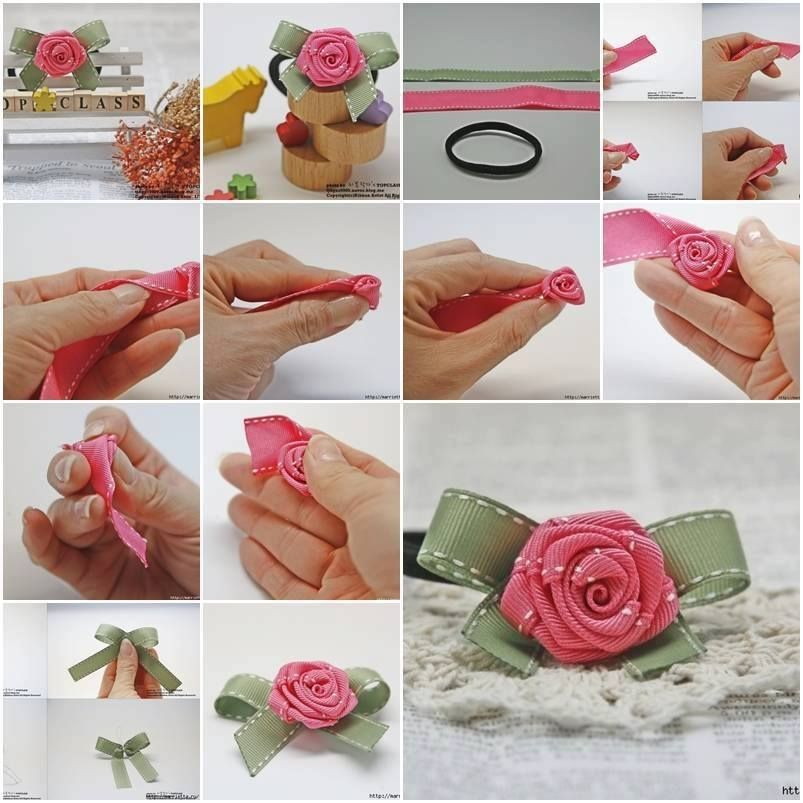 Diy ribbon rose pictures photos and images for facebook for Handmade things step by step