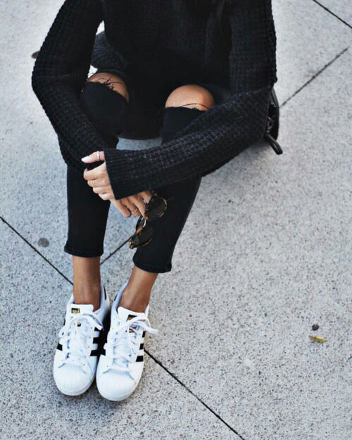 Black Ripped Jeans And Adidas