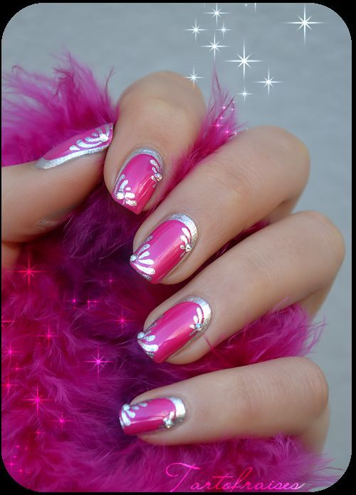 Hot Pink And Silver Nail Art