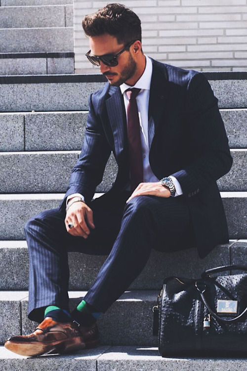 Dark Blue Pinstripe Suit With Brown Wingtips