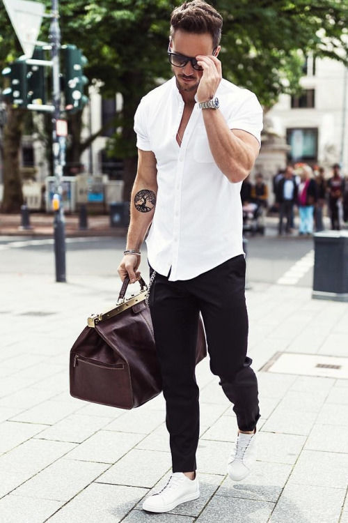 White Shirt With Black Pants And White Shoes Pictures, Photos, and ...