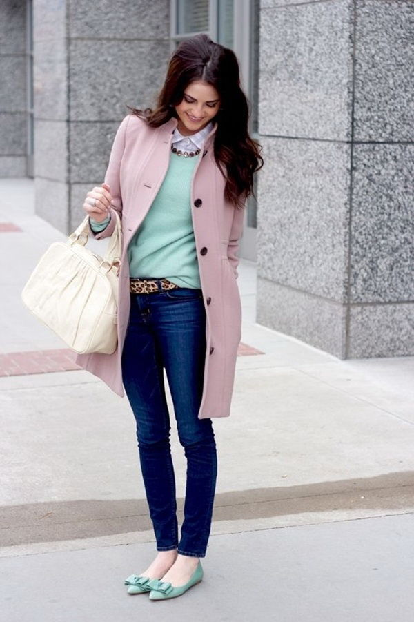 Skinny Jeans Flats And Pink Coat Fall Winter Fashion