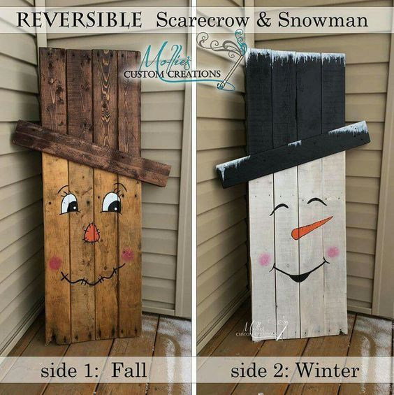 Reversible scarecrow and snowman pallet pictures photos and images for facebook tumblr - Fotowand paletten ...